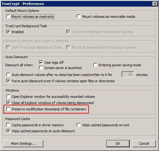 TrueCrypt setting: Preserve modification timestamp of file containers