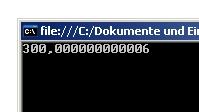Screenshot: Rechnen mit Gleitkommazahlen in C#