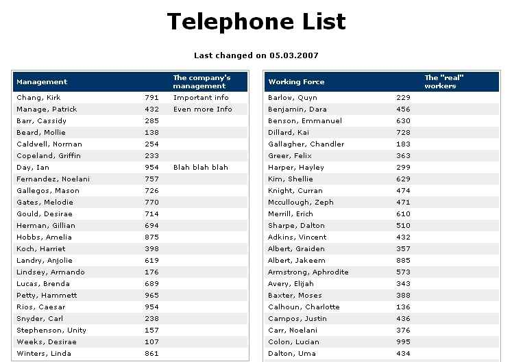 phone extension list template .