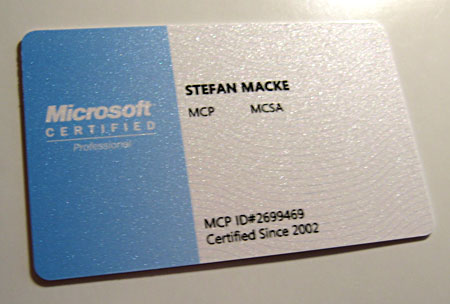 MCSA 2003 Welcome Kit Wallet Card