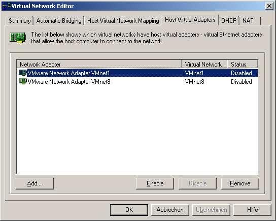 Deaktivieren der virtuellen Netzwerkkarten des VMWare-Servers