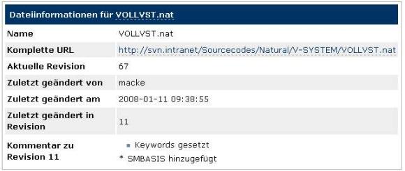 Beispiel für einen SVNIntegration-Befehl: SVNFileInfo