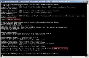 Console output of MockASocket