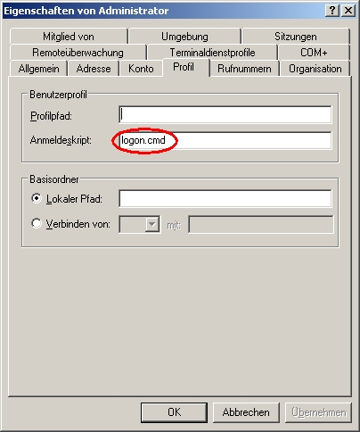Correct path to the logon script for user Administrator