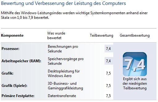 QuietPC Windows 7 WEI 7,4