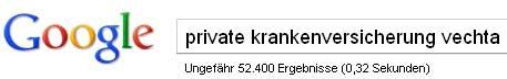 Google-Suche: private krankenversicherung vechta