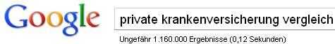 Google-Suche: private krankenversicherung vergleich