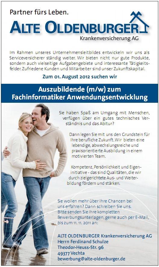 Stellenanzeige zum Fachinformatiker Anwendungsentwicklung ab 2012 bei der Alte Oldenburger in Vechta