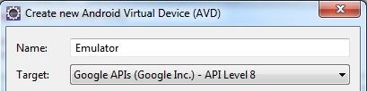 Android Emulator running Google API 8