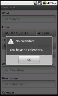 Android 2.2 Froyo: You have no calendars