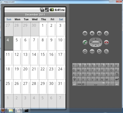 Calendar application in Android 2.2 Froyo emulator