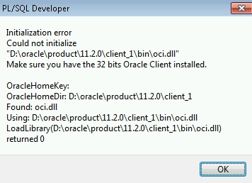 PL/SQL Developer Windows 7 64bit Oci Error