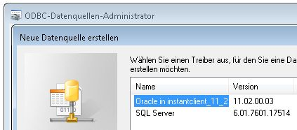 Connect to Oracle via ODBC using the InstantClient (creating an ODBC data source)