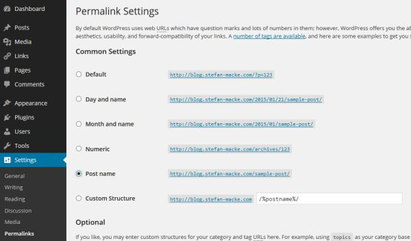 Change the Permalink structure in WordPress