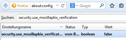 about:config - security_use_mozillapkix_verification