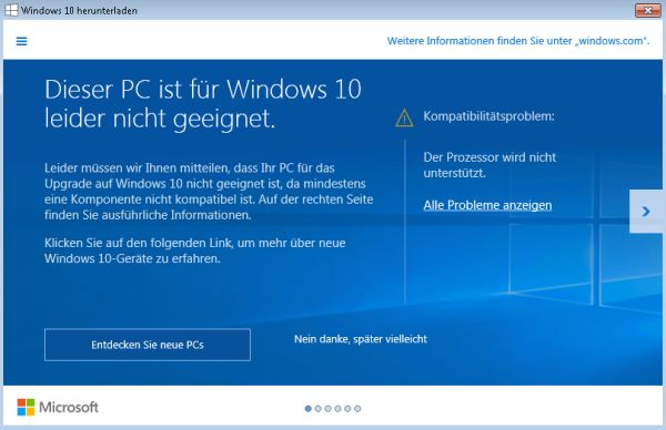 Update auf Windows 10: Der Prozessor wird nicht unterstützt